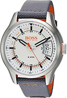 HUGO BOSS Mens Hong Kong Sport Stainless Steel Quartz Watch with Nylon Strap, Grey,