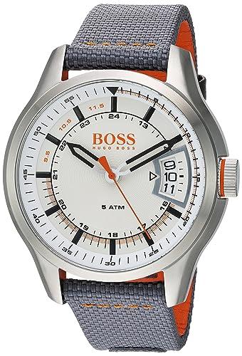 HUGO BOSS Men s Hong Kong Sport Stainless Steel Quartz Watch with Nylon Strap, Grey, 22 Model 1550015