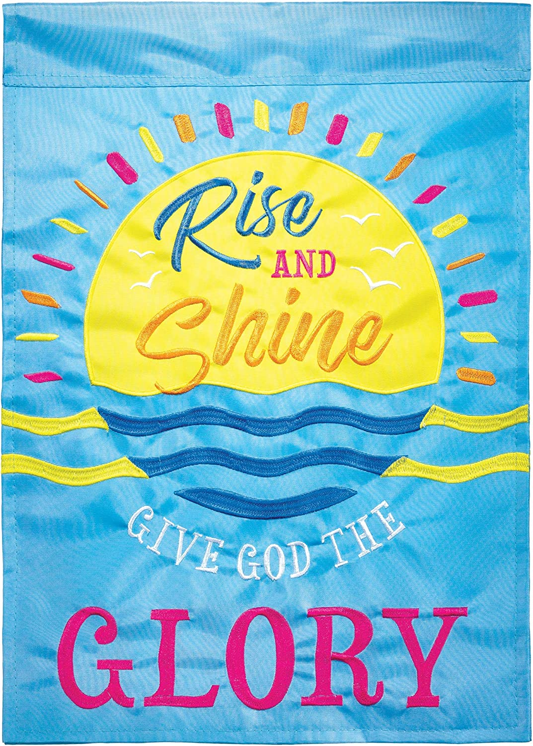 Dicksons Rise and Shine Give Blue 18 x 13 Double Applique Polyester Outdoor Garden Flag