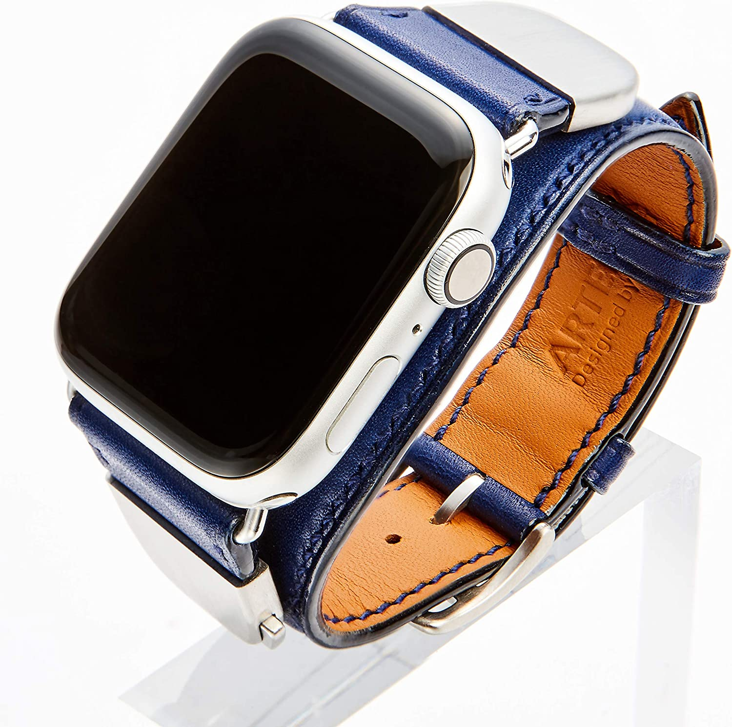ARTENIX detachable leather smartwatch band compatible with Apple Watch 44mm iWatch strap for series 1 2 3 4 5 (Elec Ocean Blue)