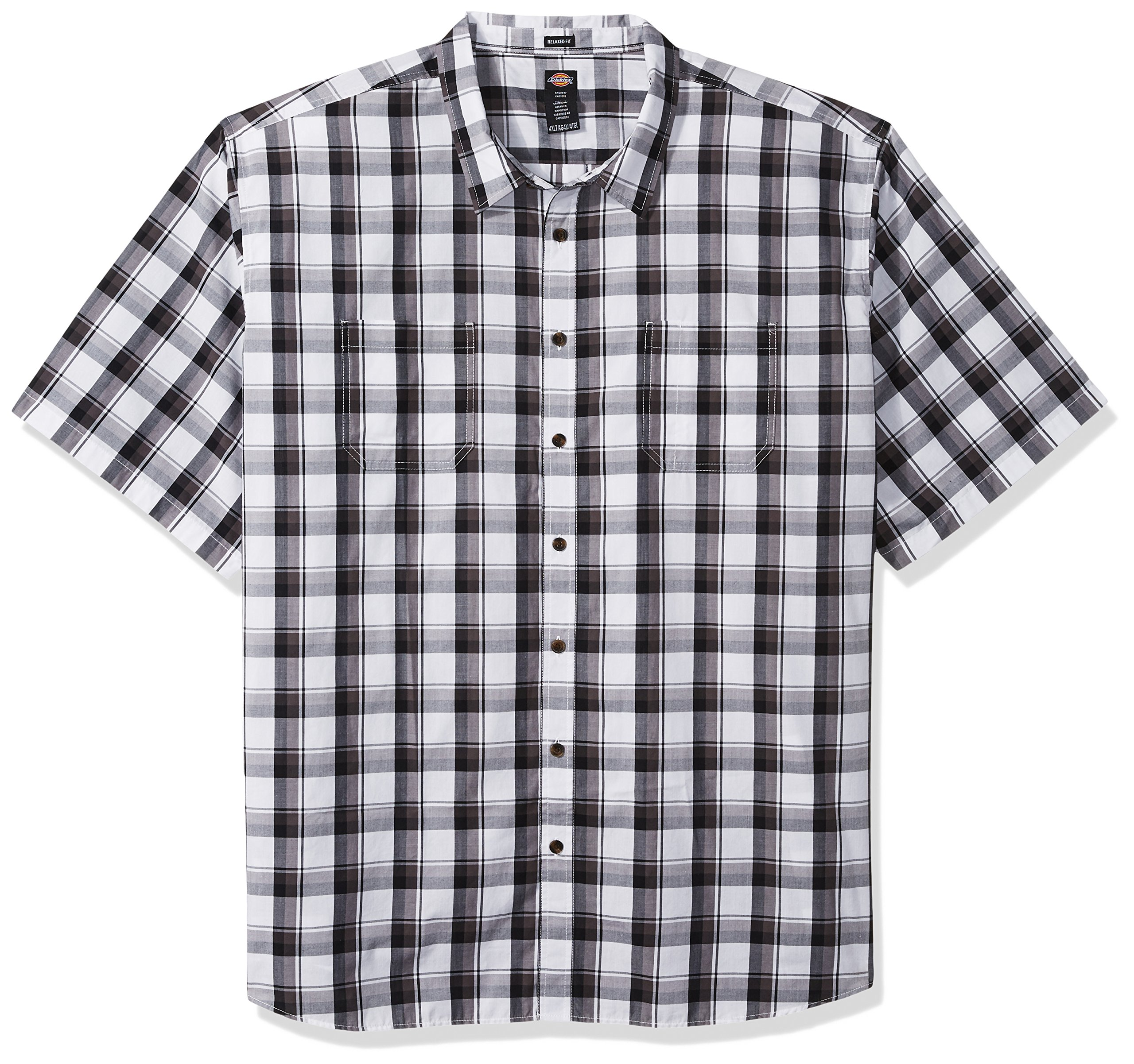 Dickies Mens Modern Fit Yarn Dyed Short Sleeve Flex Plaid Shirt