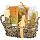 Bath and Body Wash Spa Gift Set Basket in Relaxing Tropical Beauty Mango Pear Fragrance by Freida and Joe, Complete with Shower Gel, Bubble Bath, Bath Salt, Body Lotion, Body Spray, and Bath Bomb
