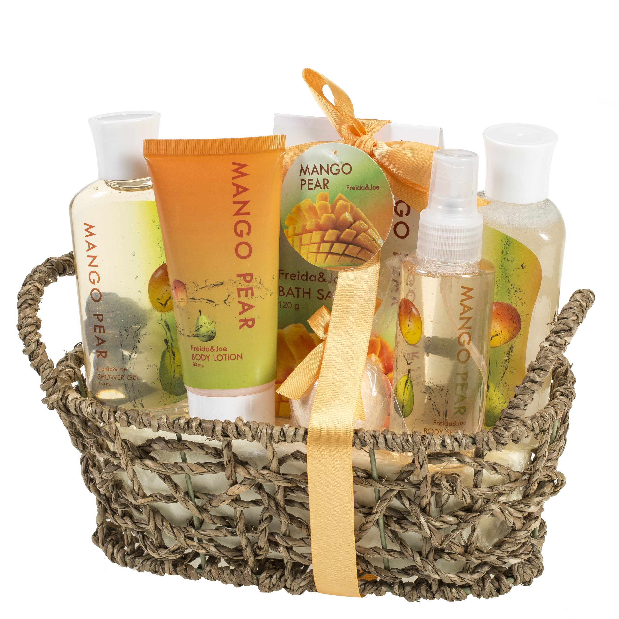 Aromatic Autumn Mango-Pear Home Spa Experience: Women's Fall Season Gift Set Features Shower Gel, Bubble Bath, Bath Salt, Body Lotion, Body Spray, and Bath Fizzer in Delicate Woven Basket by Freida and Joe