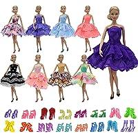 ZITA ELEMENT 5 Mini Robe Fête et 5 Caussures pour Poupées Barbie Eté Vêtements (Au Hasard)