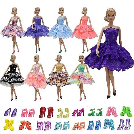 ZITA ELEMENT 5 Vestito e 5 Scarpe per Bambola Barbie Vestiti e Accessori -  Stile Casuale 9e935d7f876
