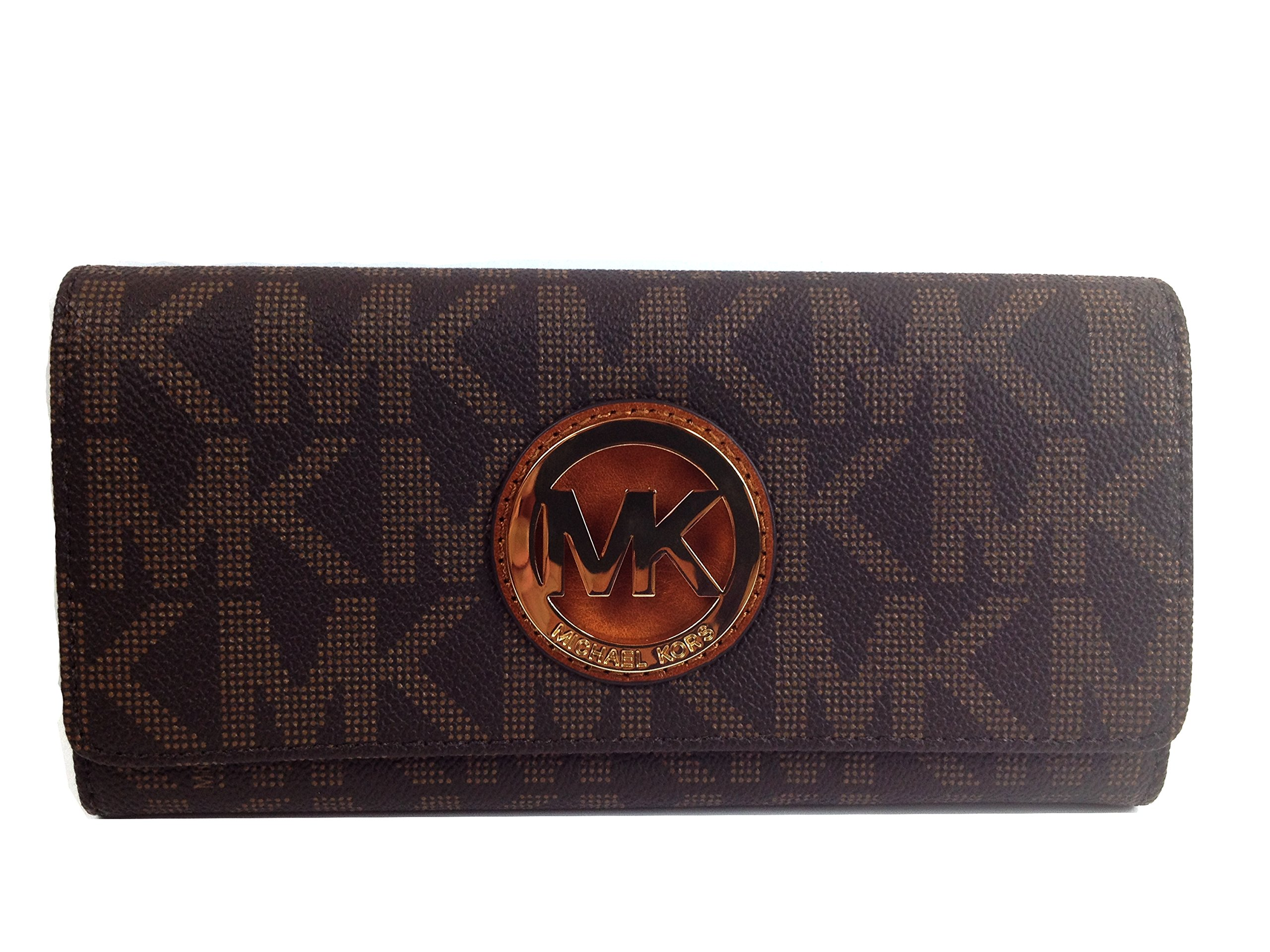 Michael Kors Signature PVC Fulton Flap Wallet in Brown