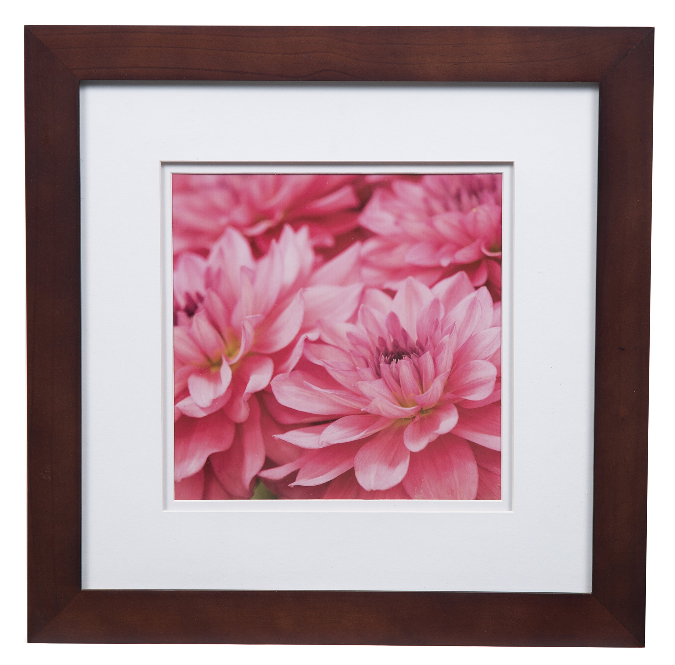 Gallery Solutions Photo 12x12 Flat Walnut Wall Frame with Double White Mat For 8x8 Picture, 12'' x 12'', by Gallery Solutions