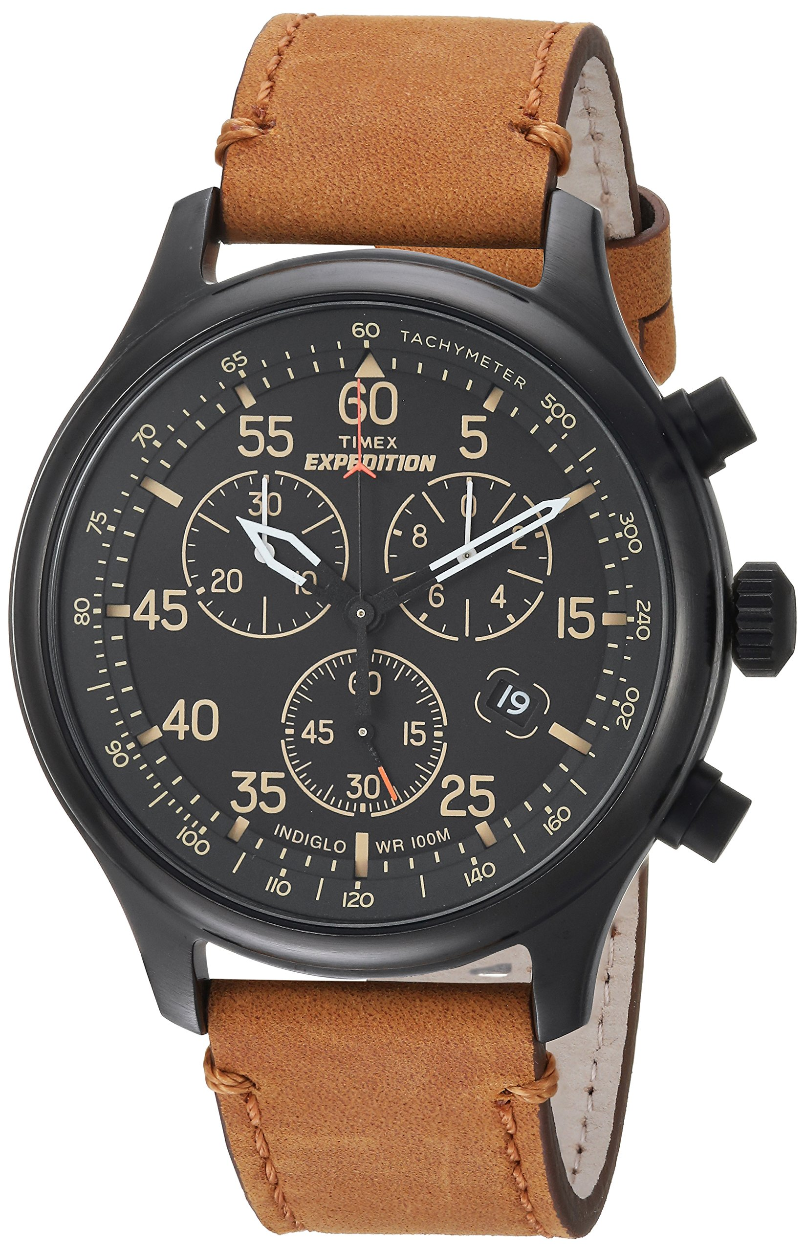 Timex Men's TW4B12300 Expedition Rugged Field Chronograph Tan/Black Leather Strap Watch by Timex