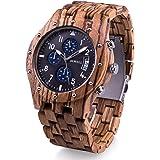 BEWELL ビーウェル 木製腕時計 メンズ クロノグラフ機能追加 日付表示 夜光 クォーツ アナログ腕時計