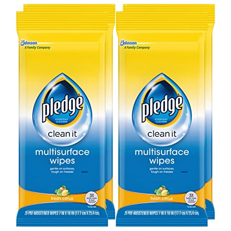 Amazon.com: Pledge Multi Surface Everyday Wipes Fresh Citrus, 25-Count (Pack of 3): Health & Personal Care