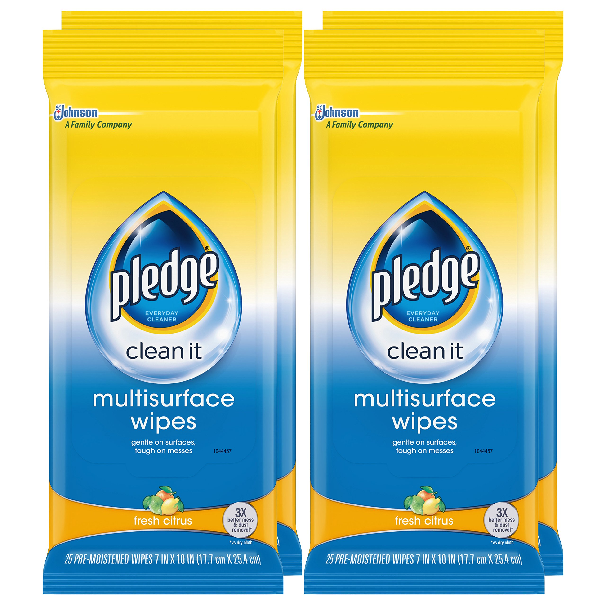 Pledge Multi Surface Everyday Wipes Fresh Citrus, 25-Count Packaging May Vary  (Pack of 4) by Pledge