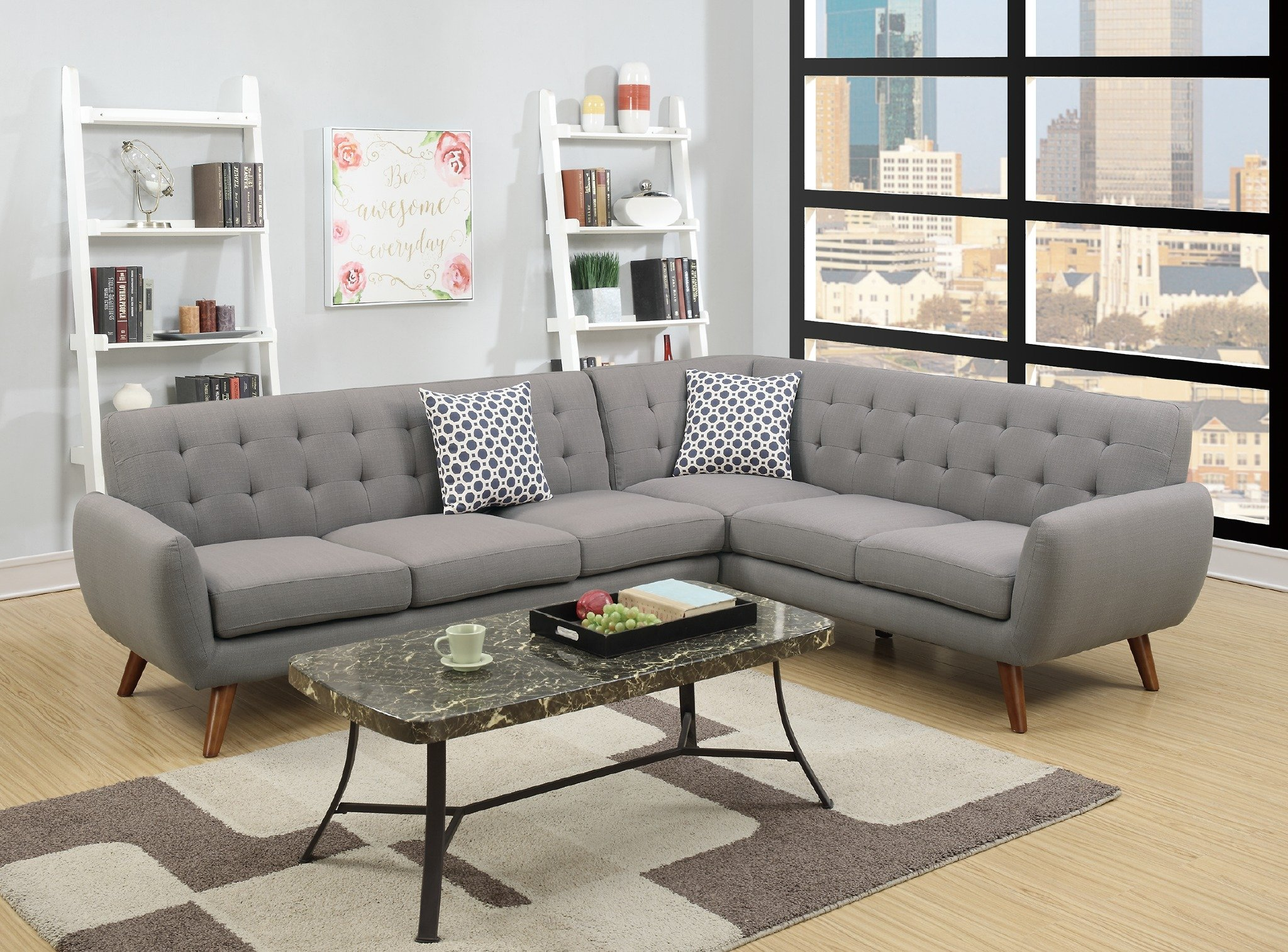 "Modern Retro Sectional Sofa (Gray) - Modern retro styling. Classic yet contemporary design. Upholstered in linen-like Polyfiber fabric. Available in grey, ash black or laguna color. Overall dimension: 111"" x 85"" x 33""H. Loveseat wedge: 85"" x 35"" x 33""H; Sofa: 76"" x 35"" x 33"" - sofas-couches, living-room-furniture, living-room - 91in19UXQaL -"