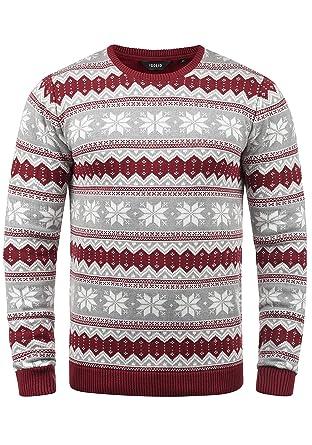 2e73c74868ad Solid Winno Herren Weihnachtspullover Norweger-Pullover Winter  Strickpullover Grobstrick Pullover mit Rundhalsausschnitt, Größe