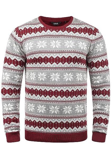 best service b7284 c97d0 !Solid Winno Herren Weihnachtspullover Norweger-Pullover Winter  Strickpullover Grobstrick Pullover mit Rundhalsausschnitt