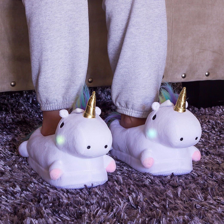 Largeshop LED Unicorno Peluche Pantofole Kirin Halloween Ciabatte Scarpe Invernali Unisex Halloween Kirin Regalo Animali Cosplay Pink 42e455
