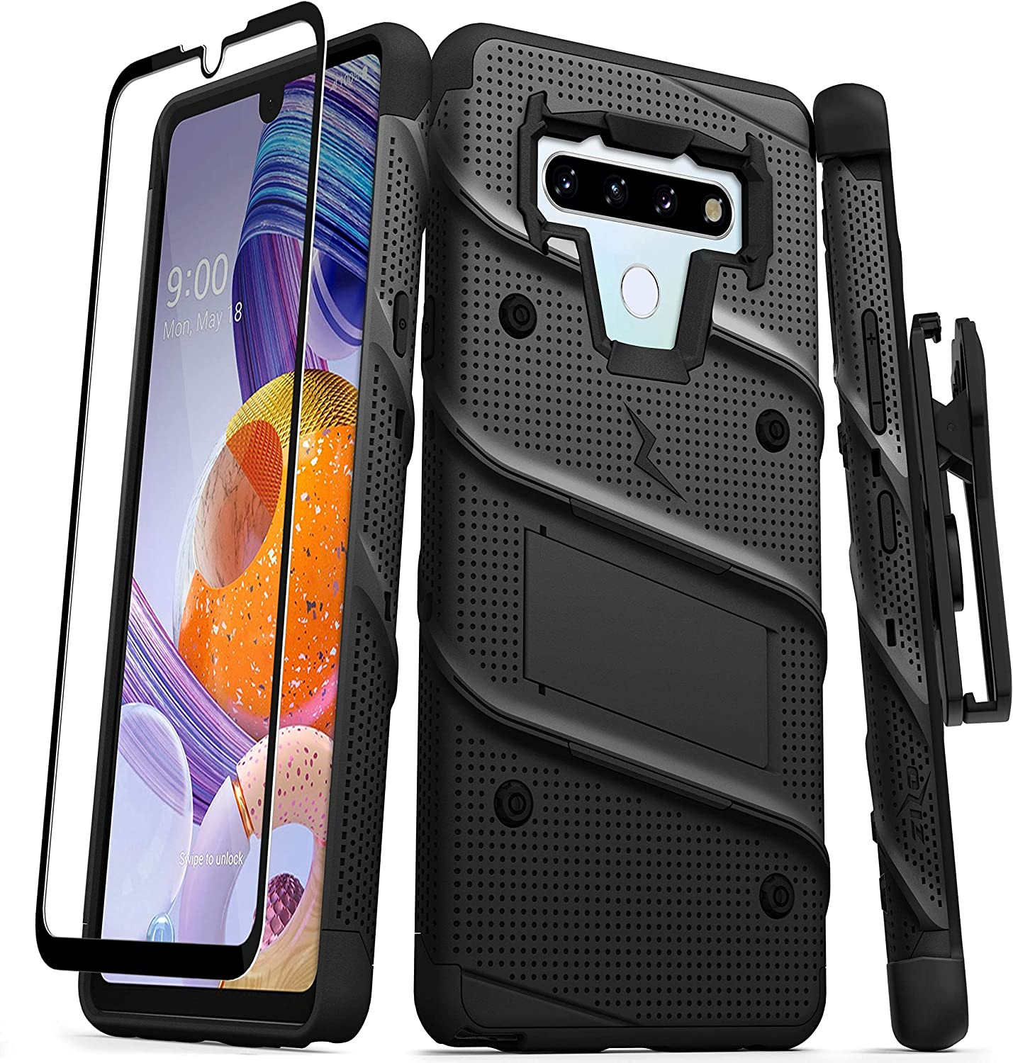 ZIZO Bolt Series for LG Stylo 6 Case with Screen Protector Kickstand Holster Lanyard - Black & Black