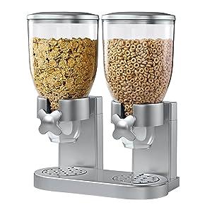 Zevro KCH-06124/GAT202 Indispensable Dry Food Dispenser, Dual Control, Silver