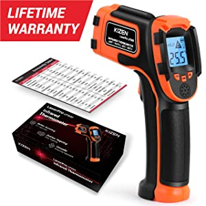 Kizen LaserPro LP300 Infrared Thermometer Non-Contact Digital Laser Temperature Gun with LCD Display -58?~1112?(-50?~600?) Adjustable Emissivity