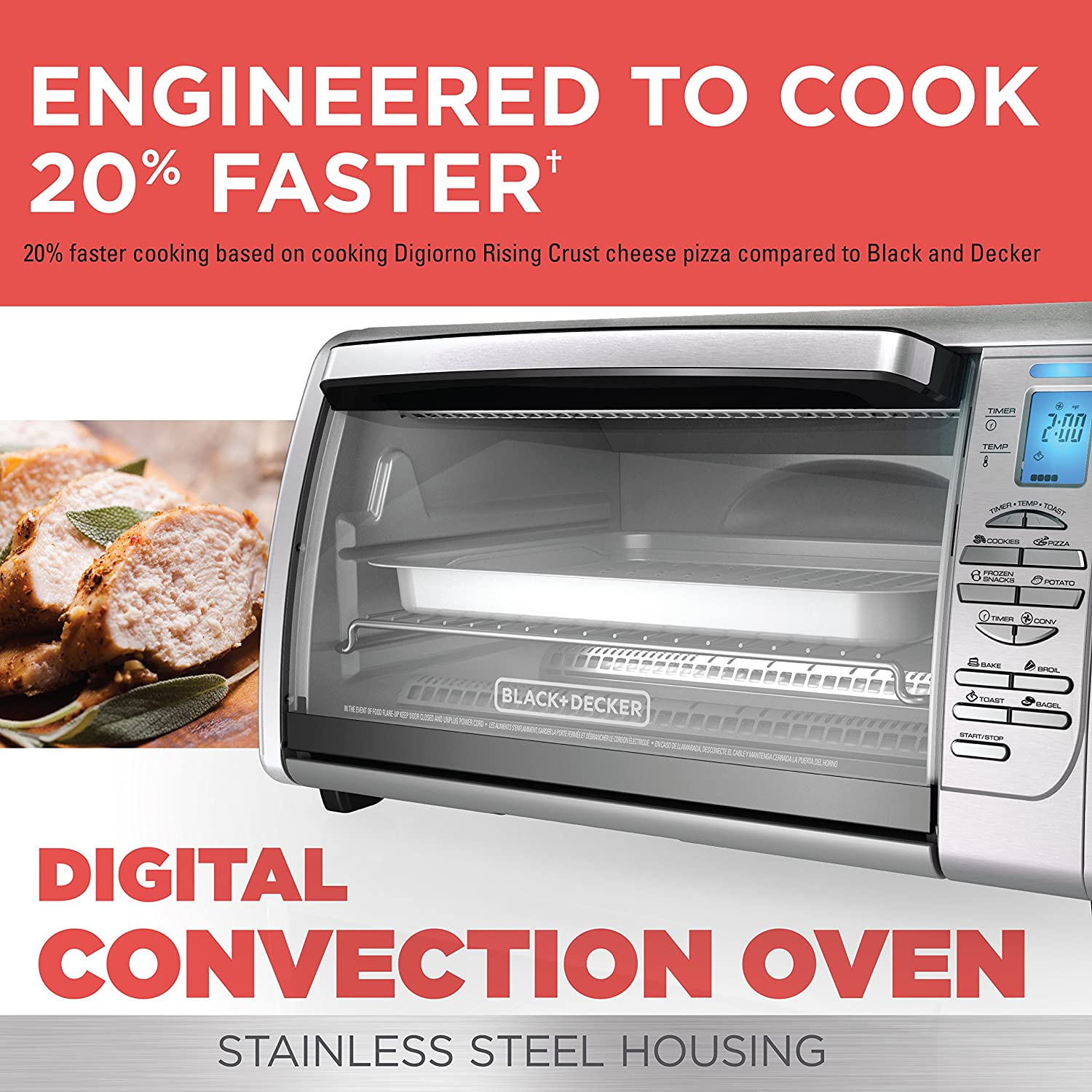 BLACK+DECKER CTO6335S Stainless Steel Countertop Convection Oven