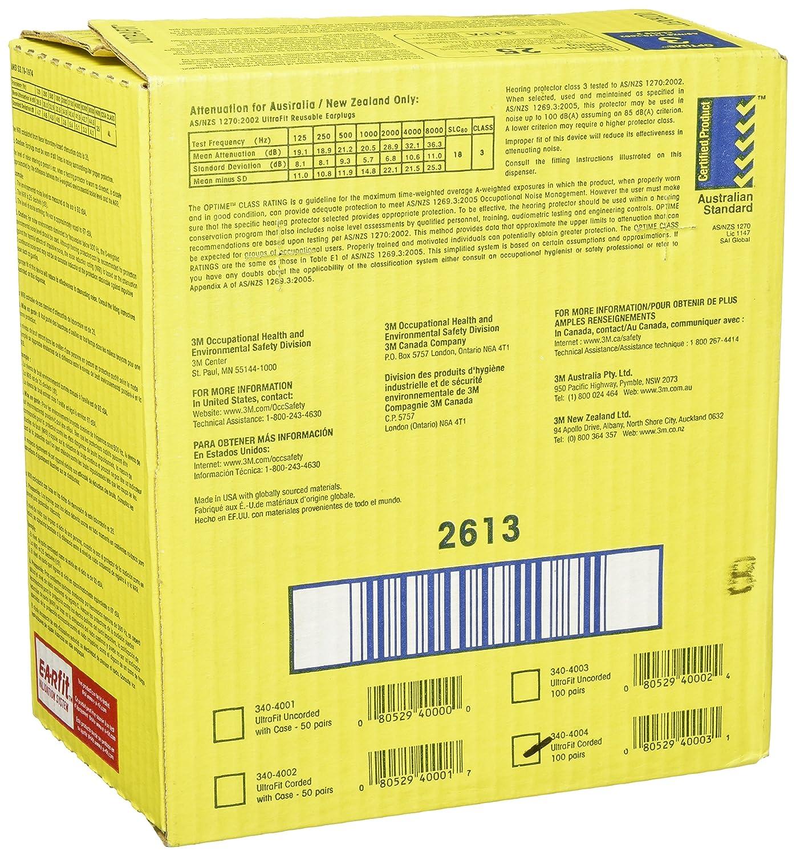 3m Mmm3404001 Ultrafit Earplugs With Case Home Improvement Reusable Earplug Corded No 340 4004 Perbox