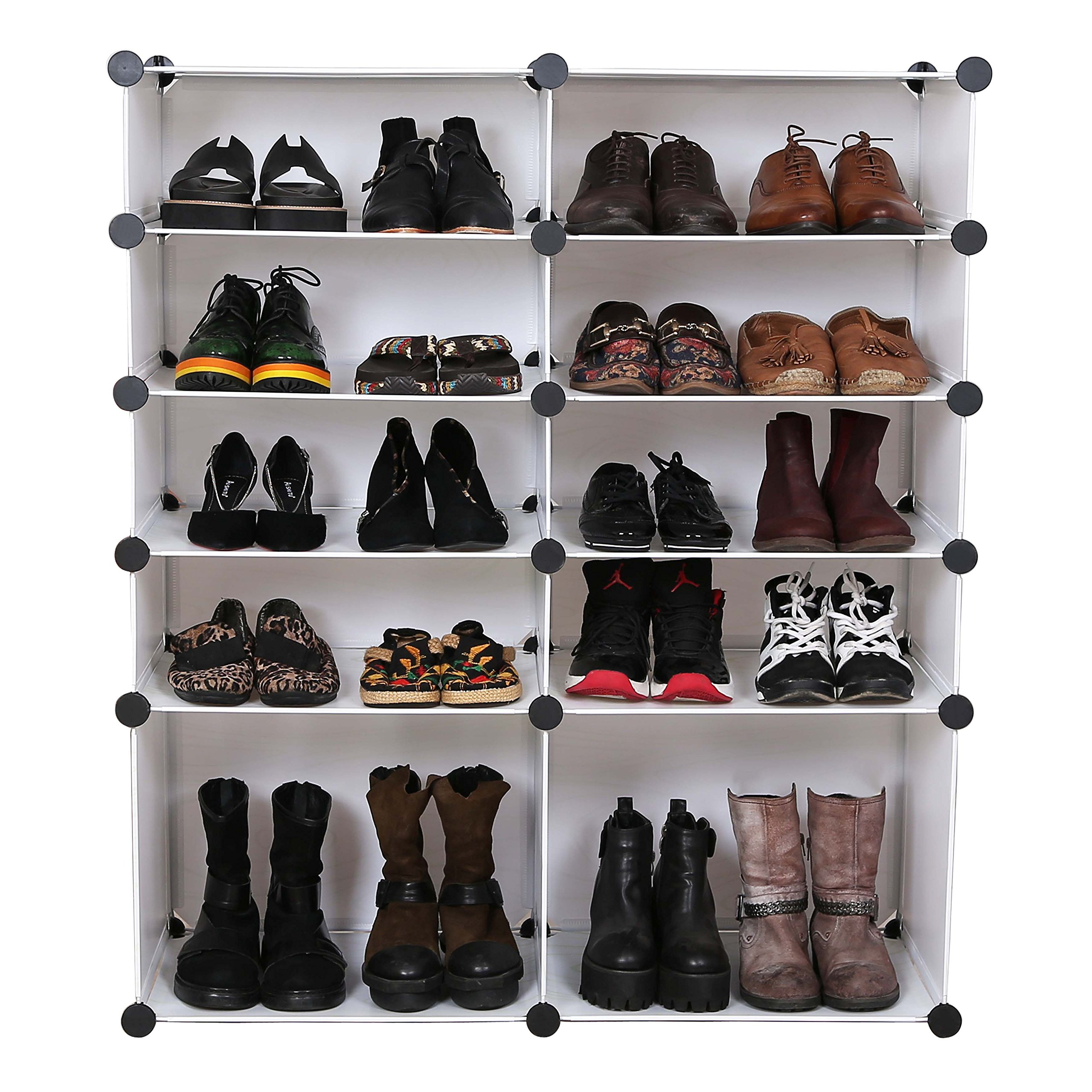 UNICOO - Multi Use DIY Plastic 10 Cube Shoe Rack,Organizer, Bookcase, Shoes Cabinet (25 With Boots Cube, White Wood Grain) by UNICOO (Image #4)