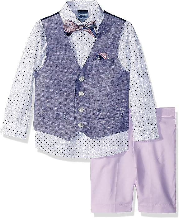 5689b472b Nautica Boys' Toddler 4-Piece Formal Dresswear Vest Set with Bow Tie, Pink