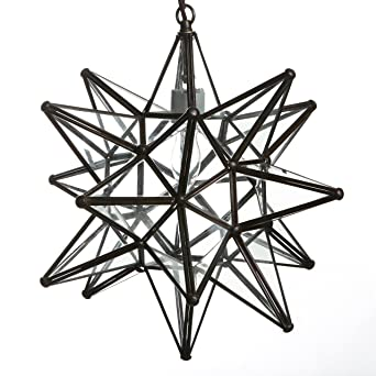 15 inch clear glass star pendant light