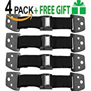 METAL Anti Tip Furniture Kit - TV Straps Safety For Flat Screens -4 Pack - Earthquake Straps - Furniture Anchors For Baby Proofing - TV Wall Straps - Child Proof Mounting Straps, Childproof Antitip