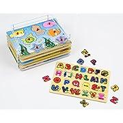 Etna Products Baby Peg Puzzle Set - 6 Educational Knob Puzzles For Boy & Girl Toddlers - Alphabet, Numbers, Sea Life, Dinosaurs, Shapes & Vehicles - Bonus: Storage Rack
