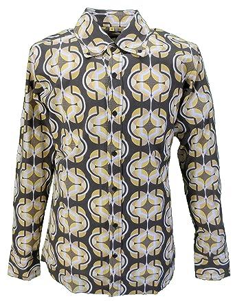 Mazeys Mens 60s 70s Retro Mod Brown Pop Art Geometric Print Shirt
