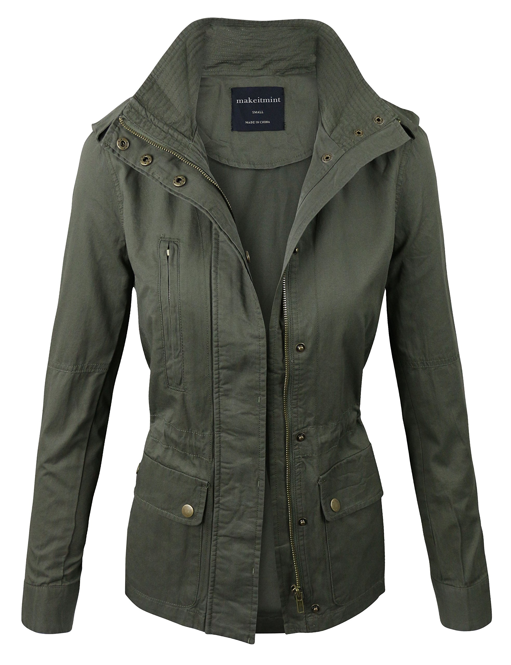 makeitmint Women's Zip Up Military Anorak Jacket w/Pockets Medium Olive