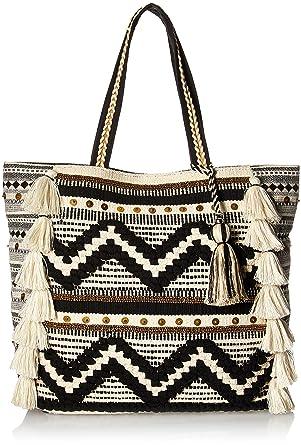f283e62b67d Amazon.com: Steve Madden Raine Bohemian Tasseled Chevron Patterned Fabric  Tote, Beach Bag, Black/White: Clothing