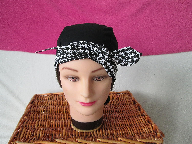Foulard, turban chimio, bandeau pirate au féminin noir et pied de poule noir et blanc