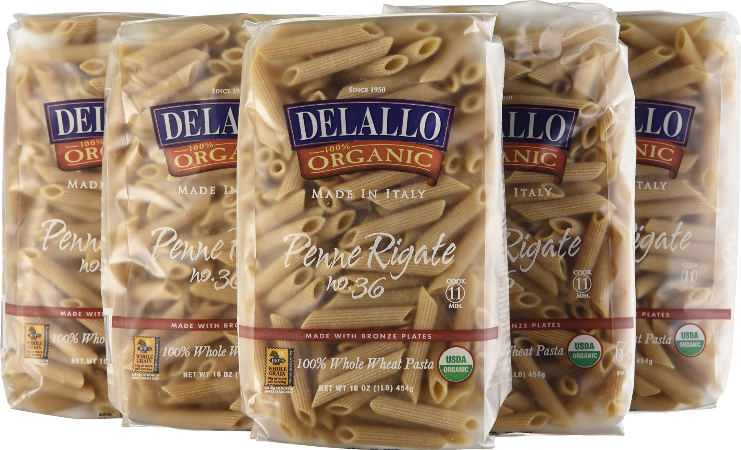 DeLallo Organic Whole Wheat Penne Rigate #36, 16 Ounce Units (Pack of 16) by DeLallo