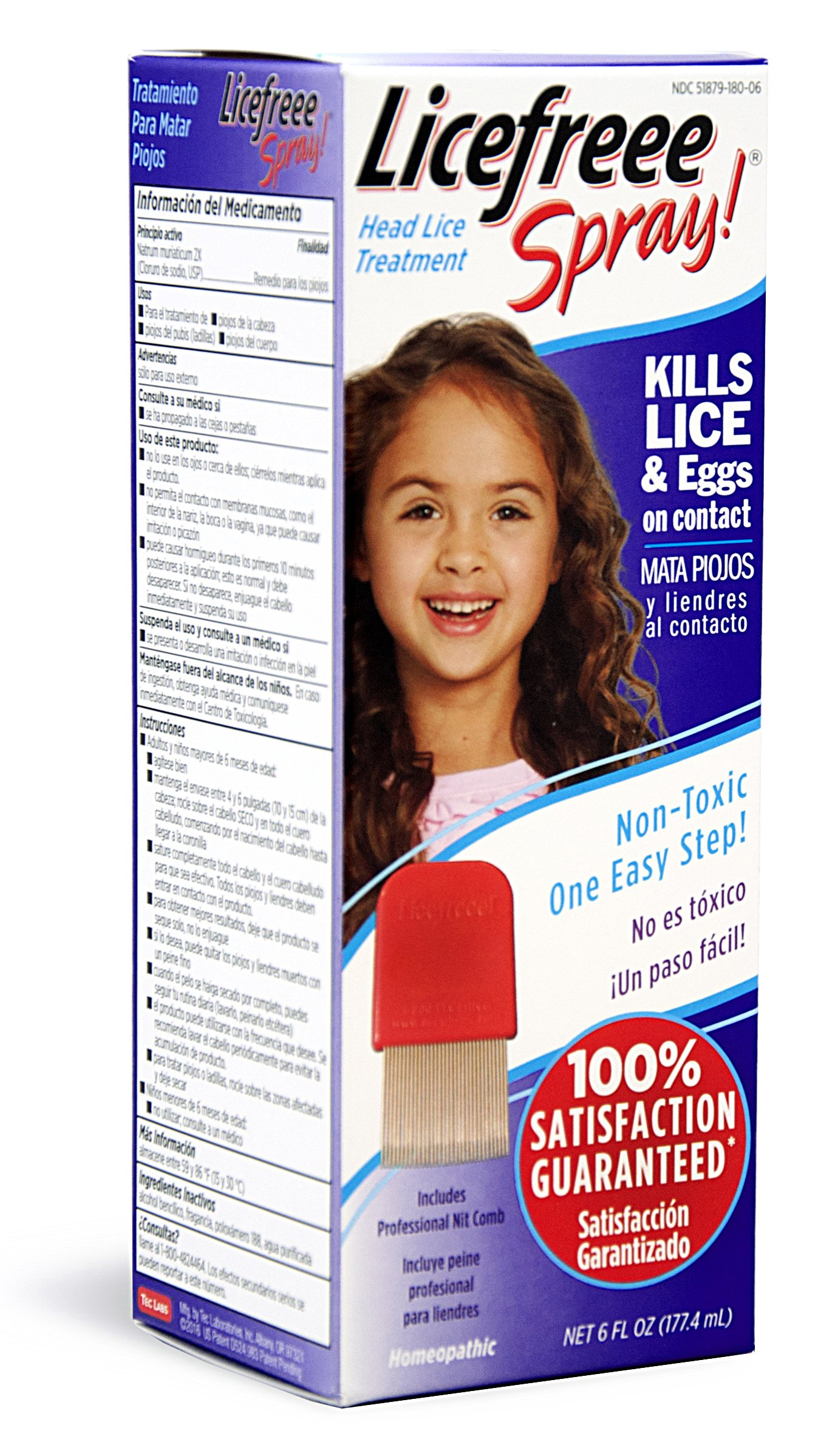 Licefreee Spray Head Lice Treatment (Kills Lice and Eggs on Contact) Includes Professional Metal Nit Comb, 6 Ounce Bottle