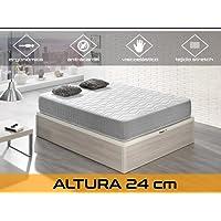 Relaxing-Confort Silver 24 5.0 Colchón Visco Elástico, Algodón-Poliuretano, Blanco y Gris