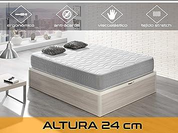 Dormi Premium Silver 24 - Colchón Viscoelástico, 90 x 190 x 24 cm, Algodón/Poliuretano, Blanco/Gris, Individual: Amazon.es: Hogar
