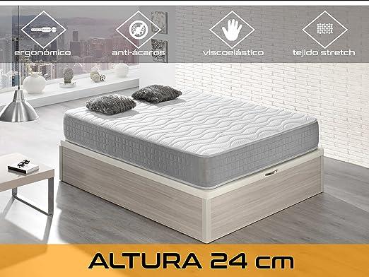 Silver 24 5.0 Viscoelástico, Algodón/Poliuretano, Blanco/Gris, Individual, 90 x 190 x 24 cm: Amazon.es: Hogar