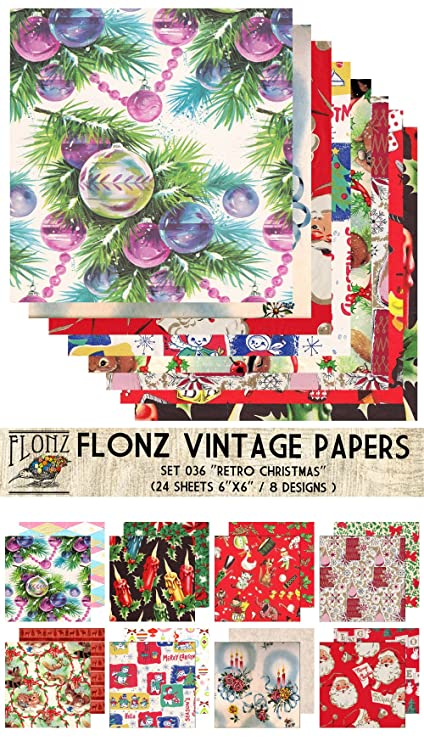 Christmas Scrapbook Paper.Paper Pack 24sh 6 X6 Retro Christmas Papers Flonz Vintage Paper For Scrapbooking And Craft