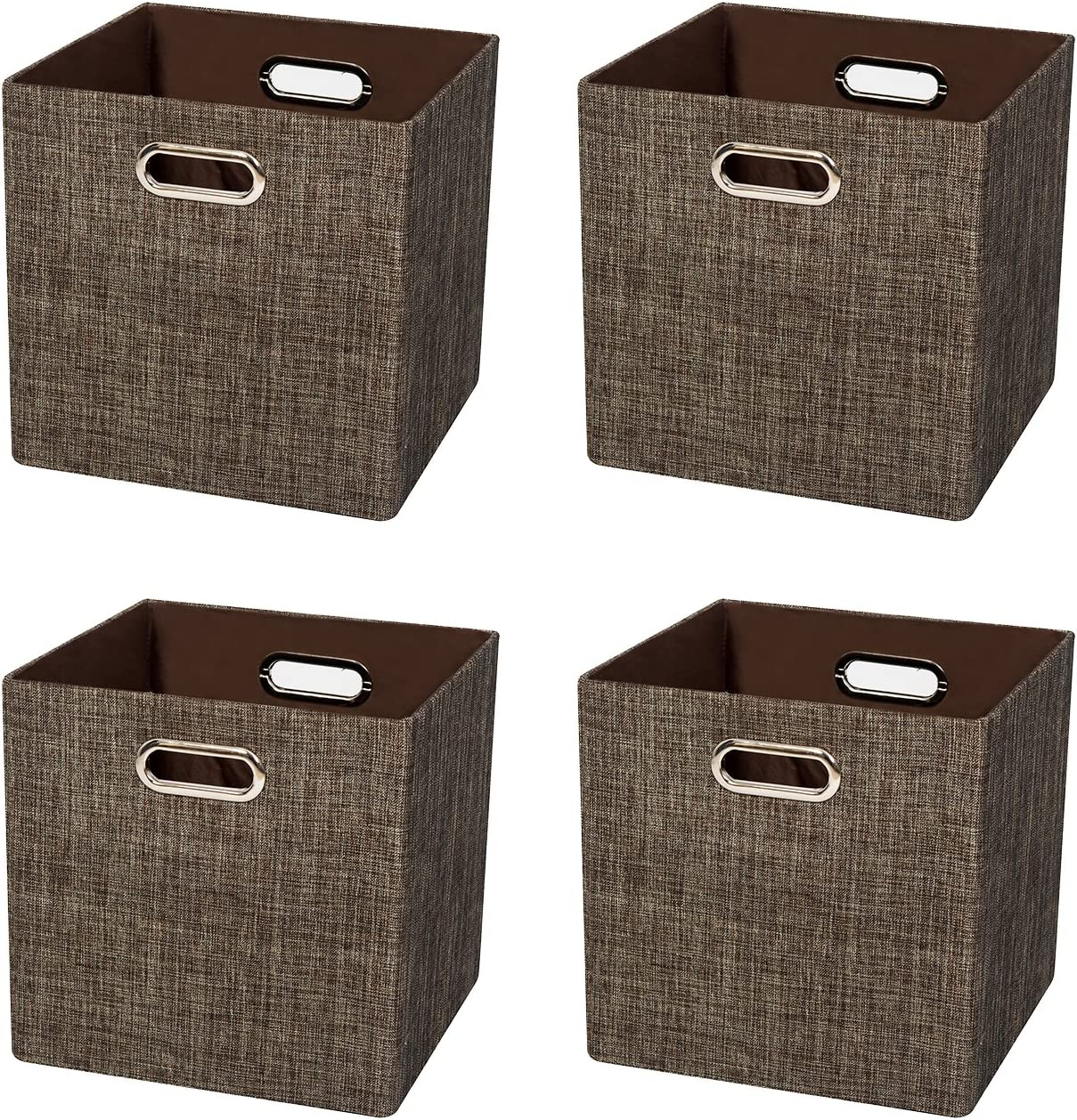Posprica Storage Bins Cubes Containers Boxes Fabric Drawers,Thick and Heavy Duty Cubby Bins, 11×11 inch- 4pcs,Brown