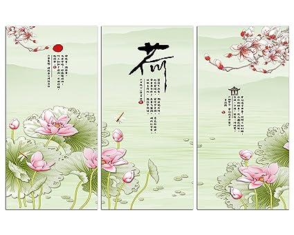Amazoncom Nan Wind 3 Piece Chinese Style Painting Lotus Flowers