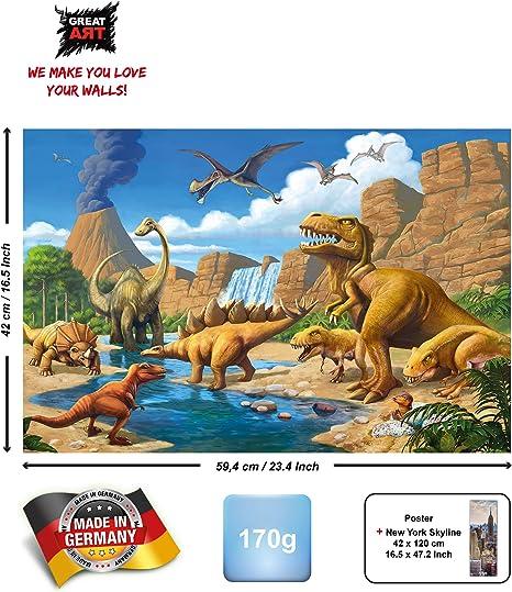 GREAT ART® Póster Niños – Mundo de los dinosarios - Estilo cómico Aventura Planeta Dinosarios Jungla Cascada Animal Decoracion Mural A2 (42 x 59,4 cm)