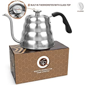OPUX Gooseneck Pour Over Coffee Kettle with Thermometer | Premium Grade Stainless Steel Drip Kettle for Home Coffee Brewing, Tea, Barista | 40 fl oz (Stainless Steel, Glass Top)