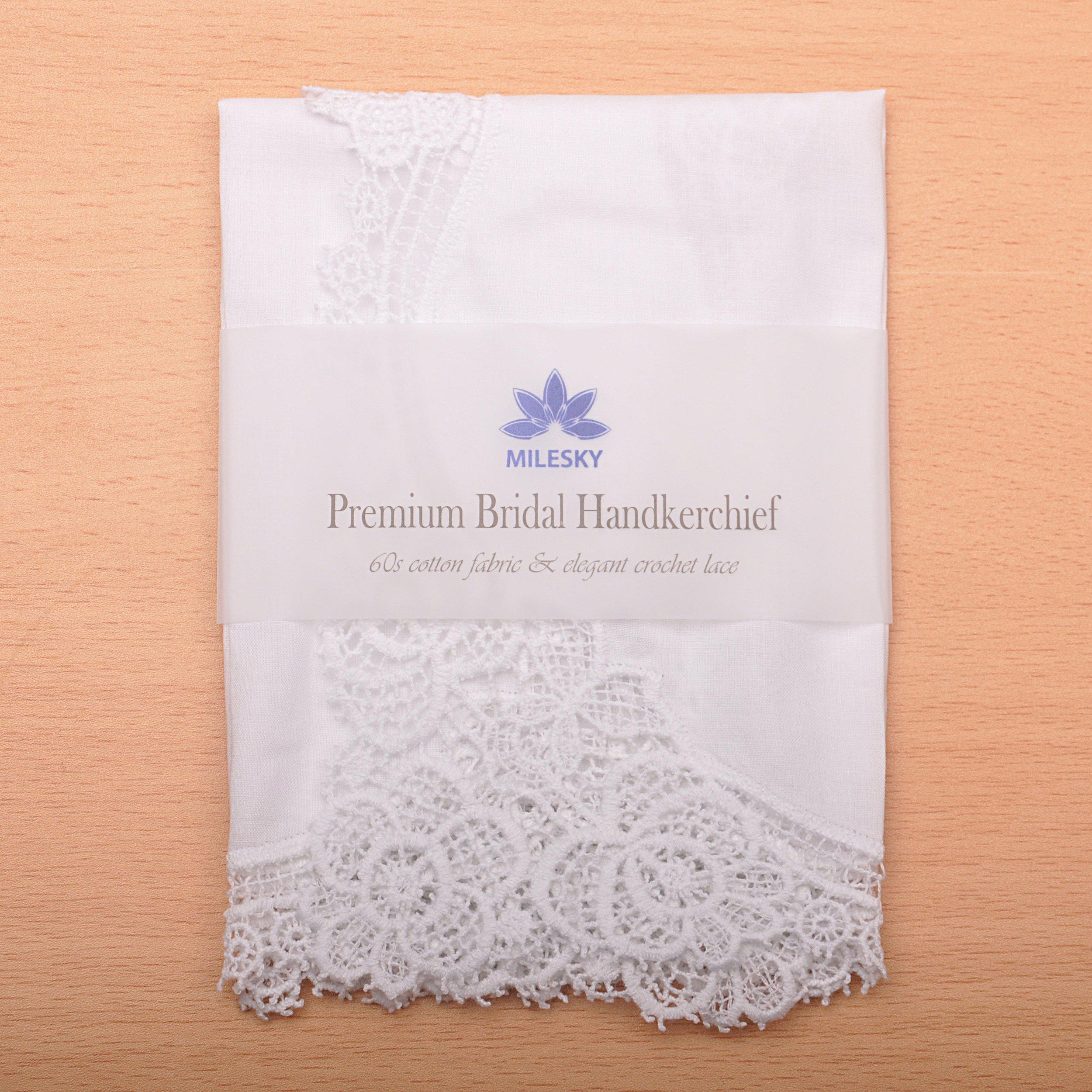 Milesky Bridal Wedding Crochet Lace Handkerchief Premium 60S Cotton CH02 by Milesky (Image #6)