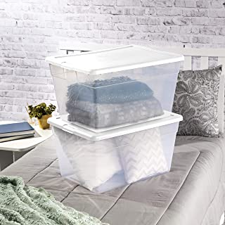 product image for Sterilite 16598008 56 Quart/53 Liter Storage Box, White Lid w/ Clear Base, 8-Pack