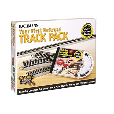 Bachmann Trains Snap-Fit E-Z TRACK WORLD'S GREATEST HOBBY FIRST RAILROAD TRACK PACK - NICKEL SILVER Rail With Grey Roadbed - HO Scale: Toys & Games