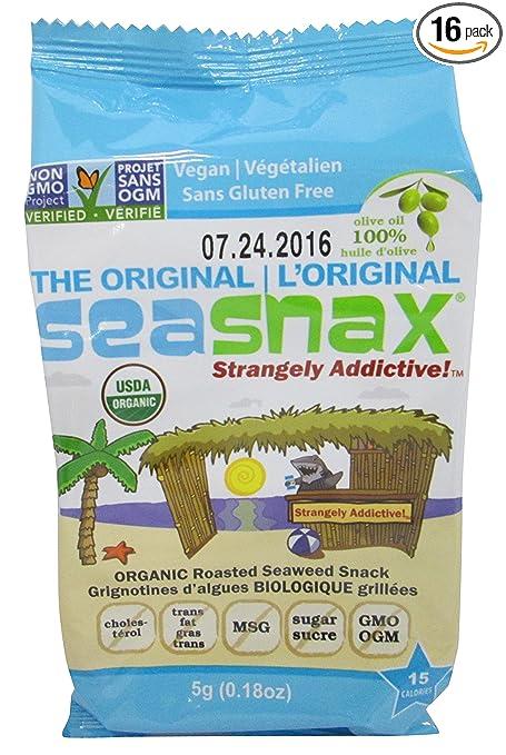 SeaSnax Organic Roasted Seaweed Snack, Original, 0.54 Ounce (Pack of 16)