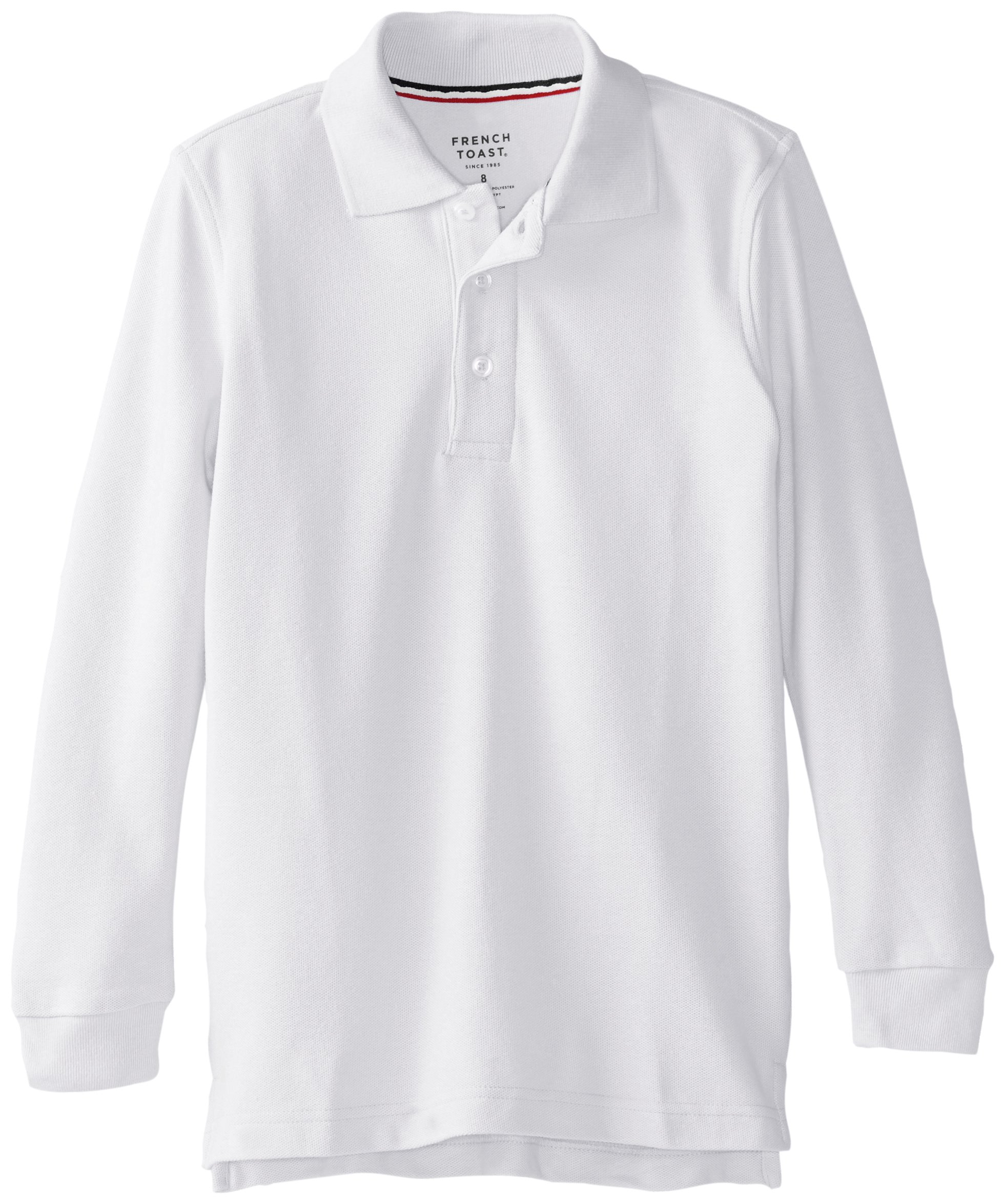 French Toast Big Boys' Long Sleeve Pique Polo, White, 10 by French Toast (Image #1)