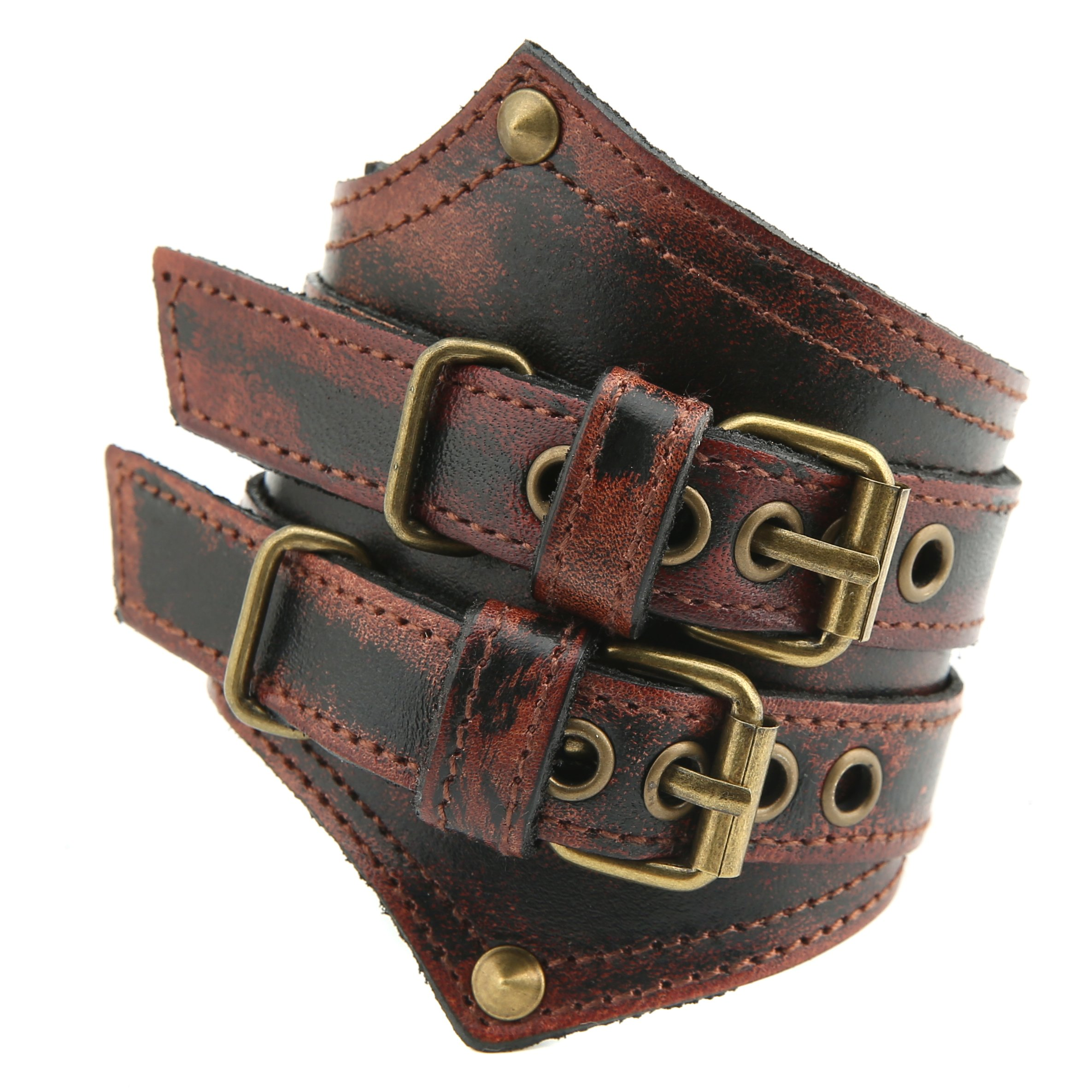 HZMAN Men's Alloy Genuine Leather Belt Leather Buckle Bracelet Cuff Adjustable (Crimson)
