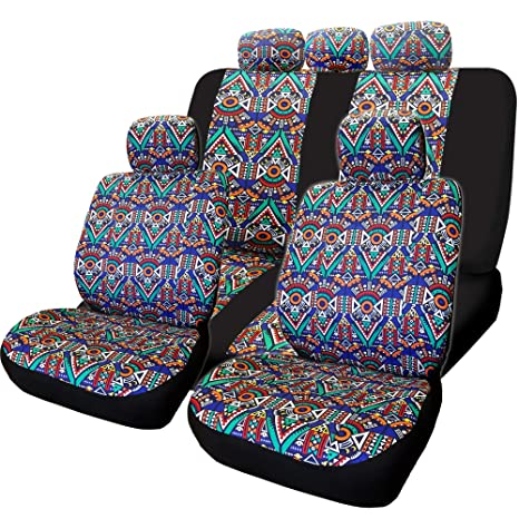 Yupbizauto New Aztec Design Front And Rear Car Truck SUV Seat Covers Headrest Cover Full Set